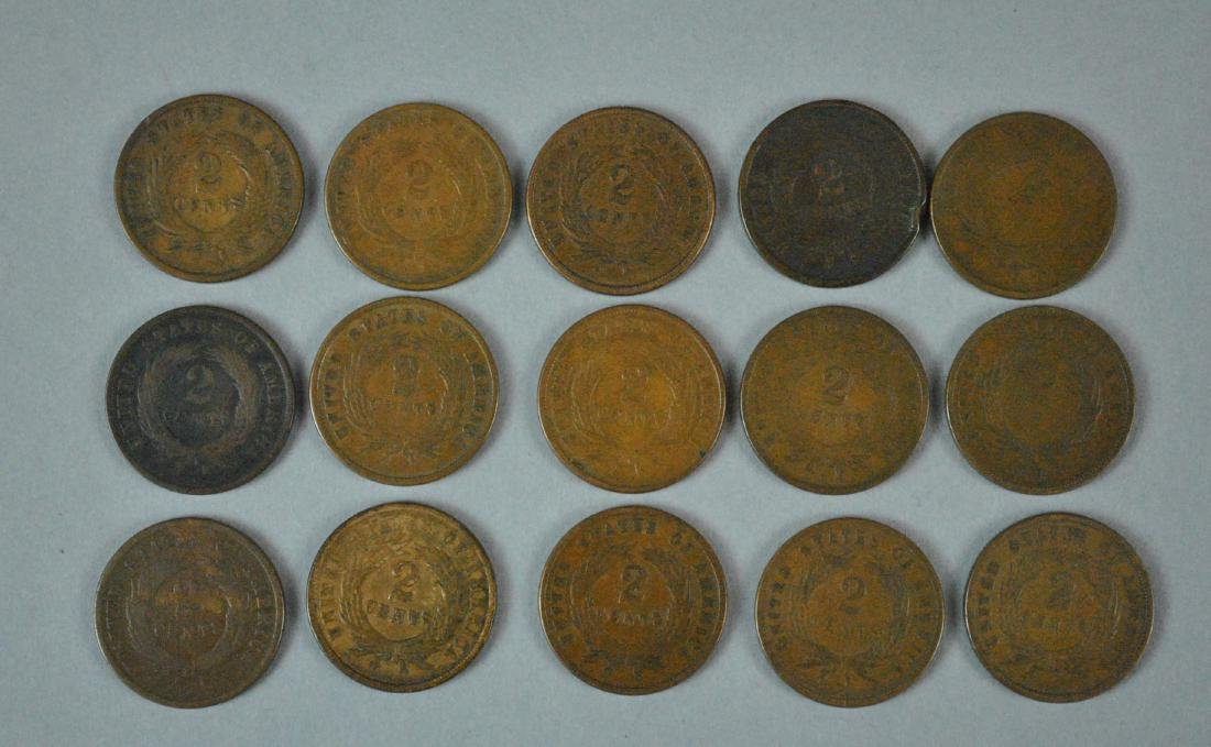 (15) LARGE US 2 CENT COINS