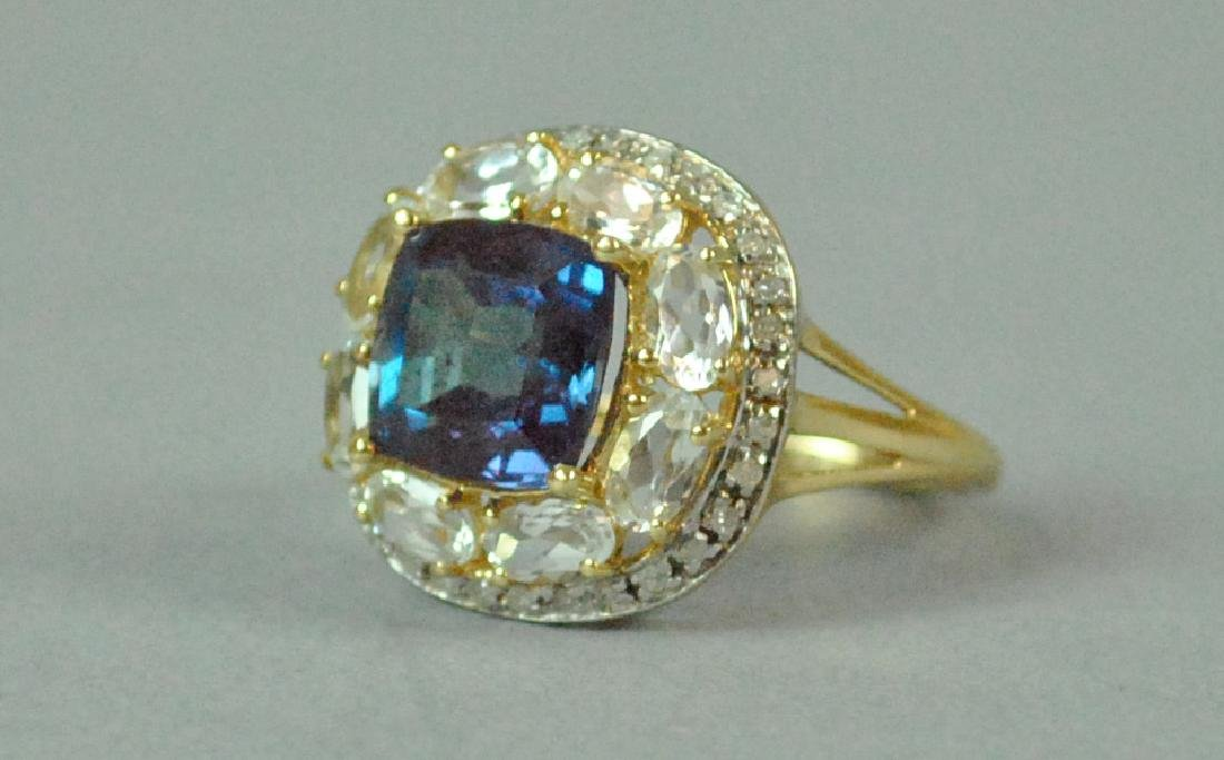 14K COLOR-CHANGE SPINEL & DIAMOND RING