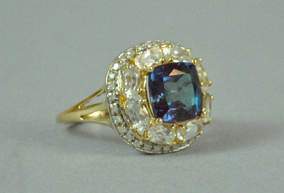 14K COLOR-CHANGE SPINEL & DIAMOND RING - 2