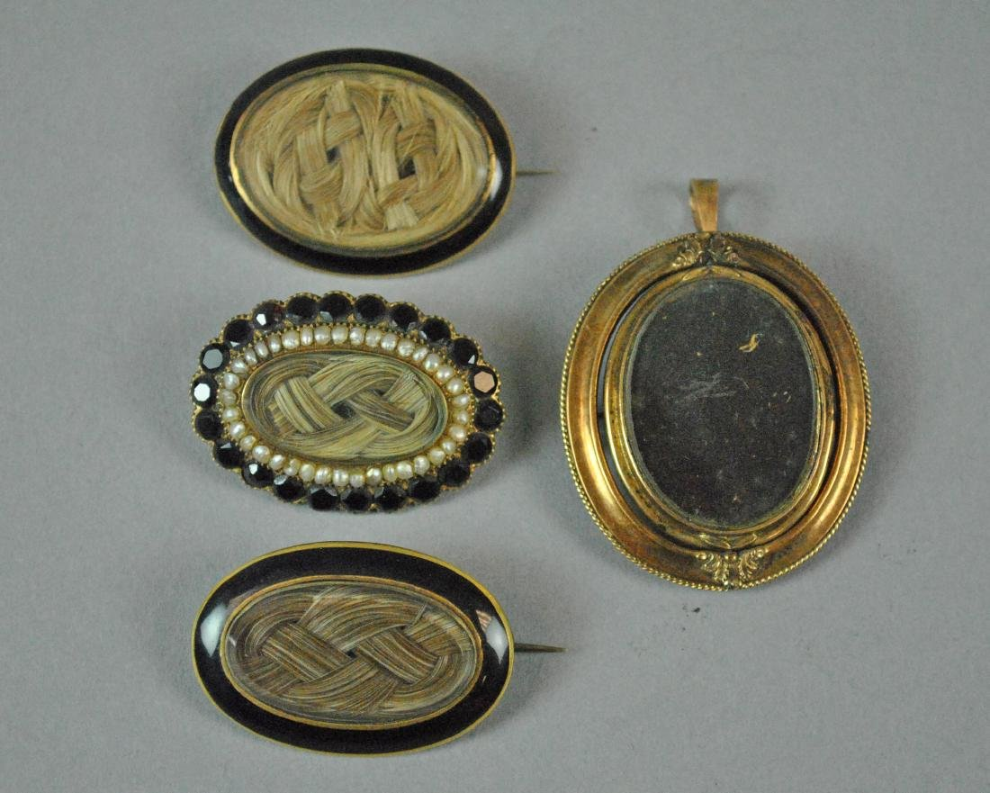 (4) 14K VICTORIAN MOURNING HAIR BROOCHES