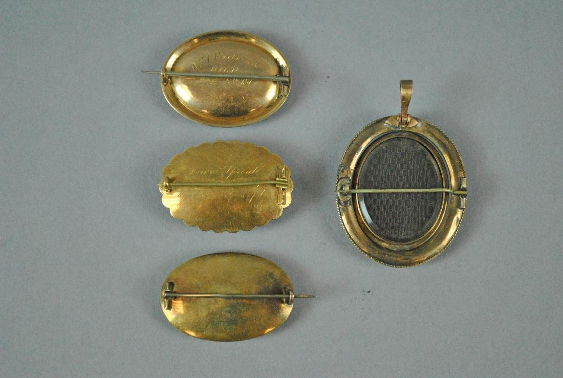 (4) 14K VICTORIAN MOURNING HAIR BROOCHES - 2