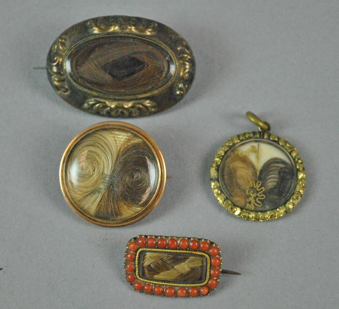 (4) PIECE VICTORIAN MOURNING HAIR JEWELRY