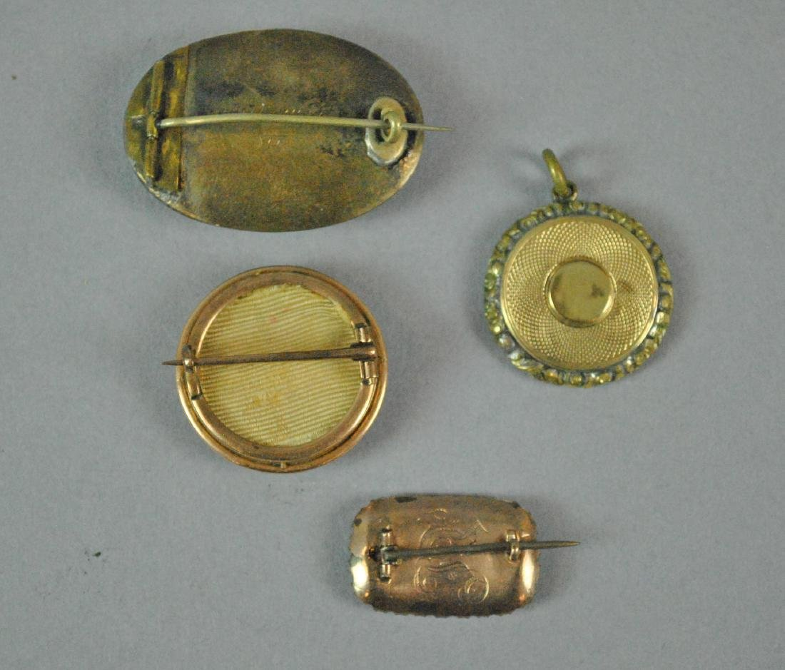 (4) PIECE VICTORIAN MOURNING HAIR JEWELRY - 2