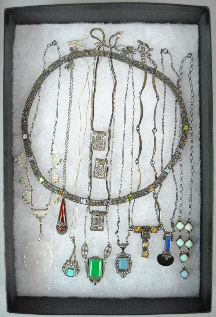 (10) SILVER NECKLACES & PENDANTS ON CHAIN