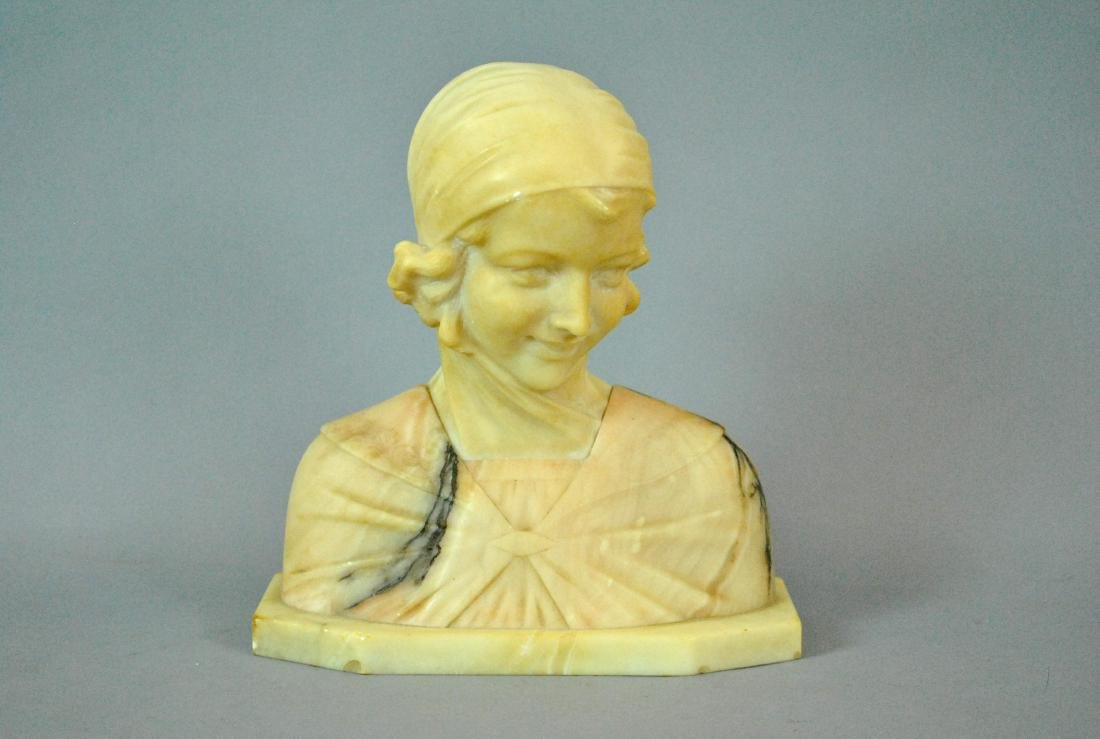 ITALIAN TINTED ALABASTER BUST OF A YOUNG WOMAN