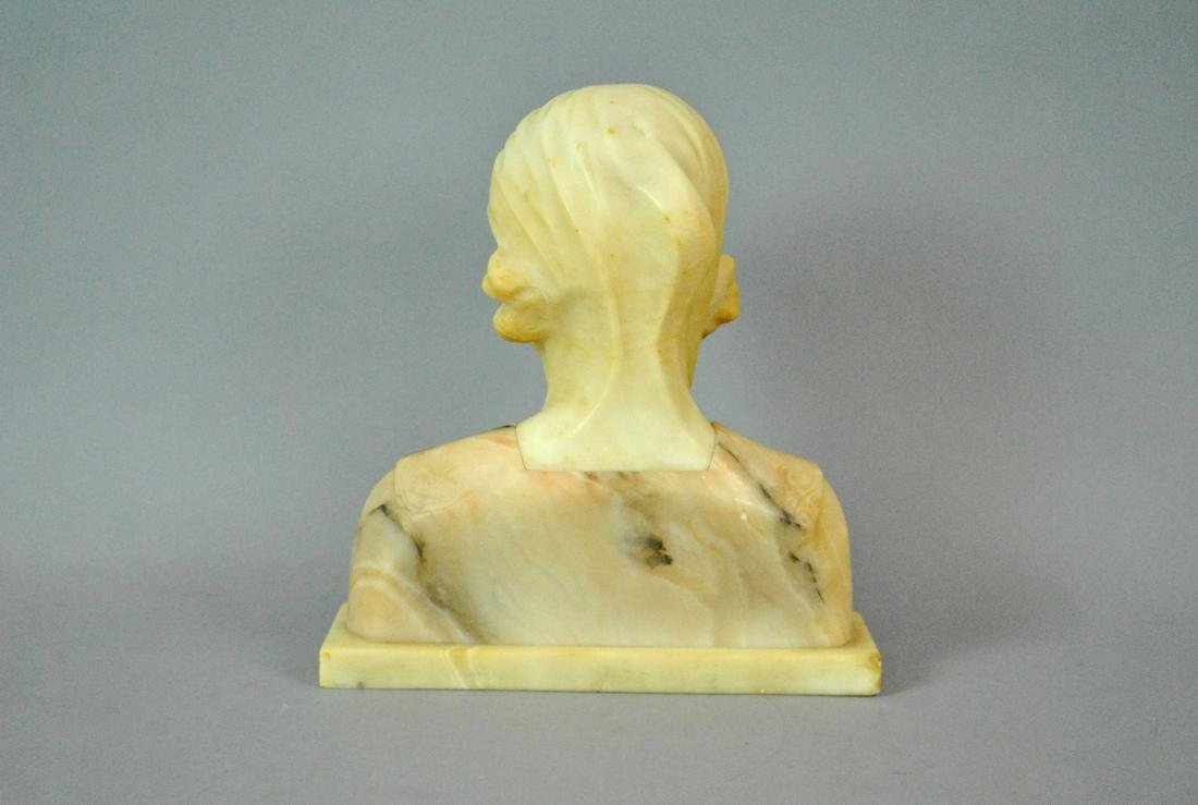 ITALIAN TINTED ALABASTER BUST OF A YOUNG WOMAN - 2