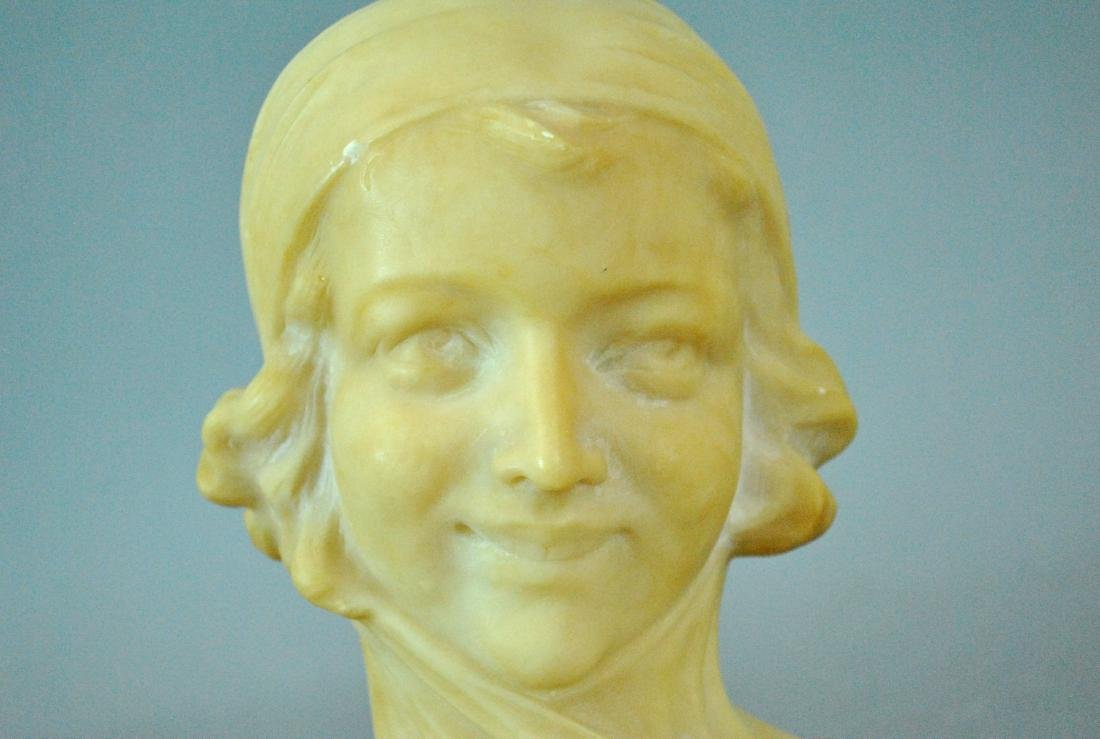 ITALIAN TINTED ALABASTER BUST OF A YOUNG WOMAN - 3