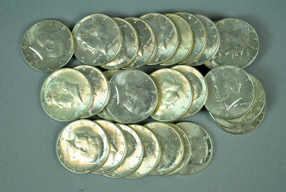 (30) KENNEDY SILVER HALF DOLLAR COINS