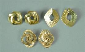 3 PAIRS 14K GOLD EARRINGS