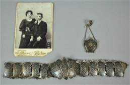 RUSSIAN SILVER NIELLO BELT  CHATELAINE