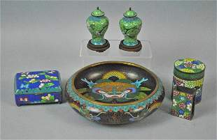 6 PIECE VINTAGE CHINESE CLOISONNE GROUP
