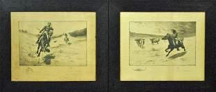 PAIR OF JOHN INNIS COWBOY ETCHINGS