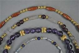 (4) GOLD & GEMSTONE BEADED BRACELETS