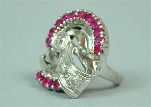 RETRO DIAMOND RUBY RING 135CTW