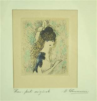 MARIE LAURENCIN HAND COLORED ETCHING