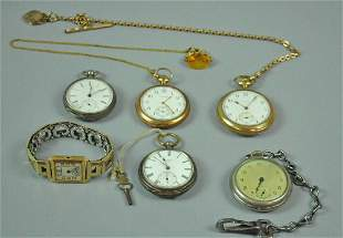 5 GENTS POCKET WATCHES AND A GOLD CASE WATCH