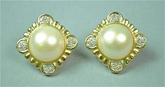 PAIR MABE PEARL & DIAMOND EARRINGS