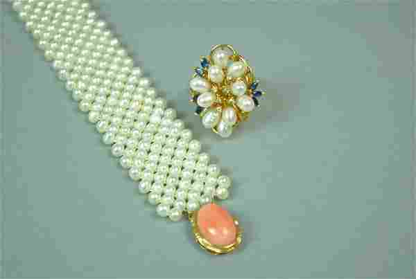 (2) PIECE 14K FRESHWATER PEARL JEWELRY GROUP