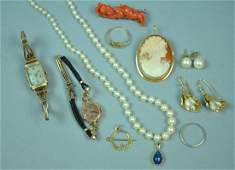 10 GOLD JEWELRIES AND A SILVER CORAL PIN
