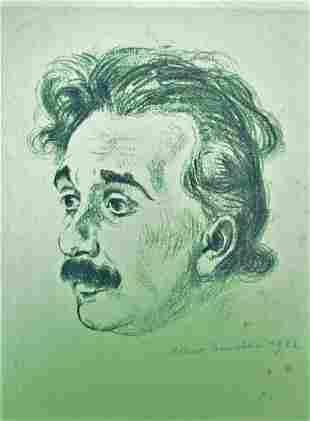 SIGNED ALBERT EINSTEIN PRINT BY HERMANN STRUCK