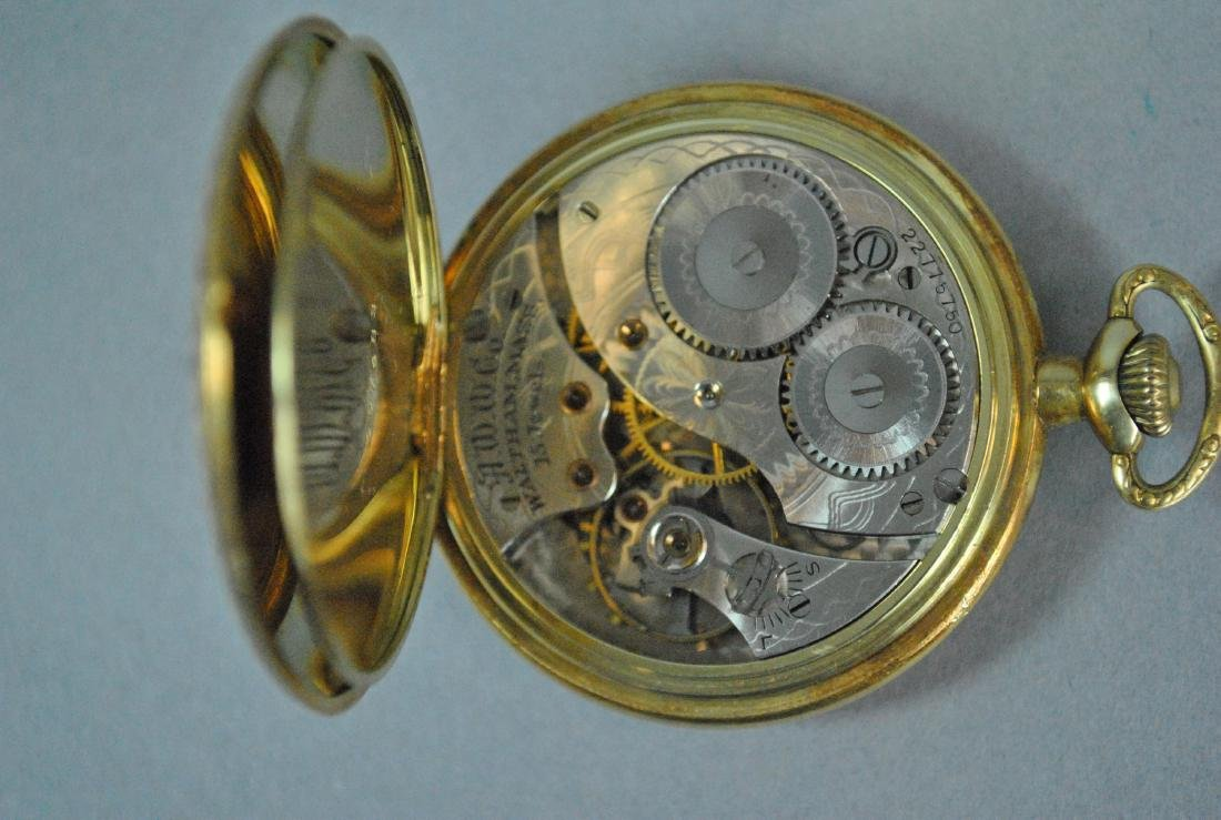 14K WALTHAM OPEN FACE POCKET WATCH - 3