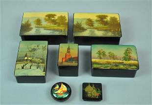 7 RUSSIAN LACQUER BOXES