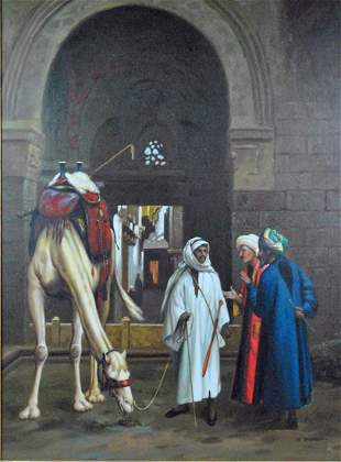 LARGE MIDDLE EASTERN GENRE SCENE WITH CAMEL