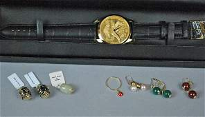 7 PIECE JEWELRY GROUP AND A CROTON WATCH