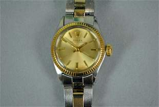 LADIES ROLEX OYSTER PERPETUAL STAINLESS WATCH