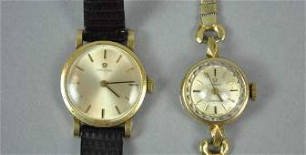 2 LADIES OMEGA 14K GOLD CASE WATCHES