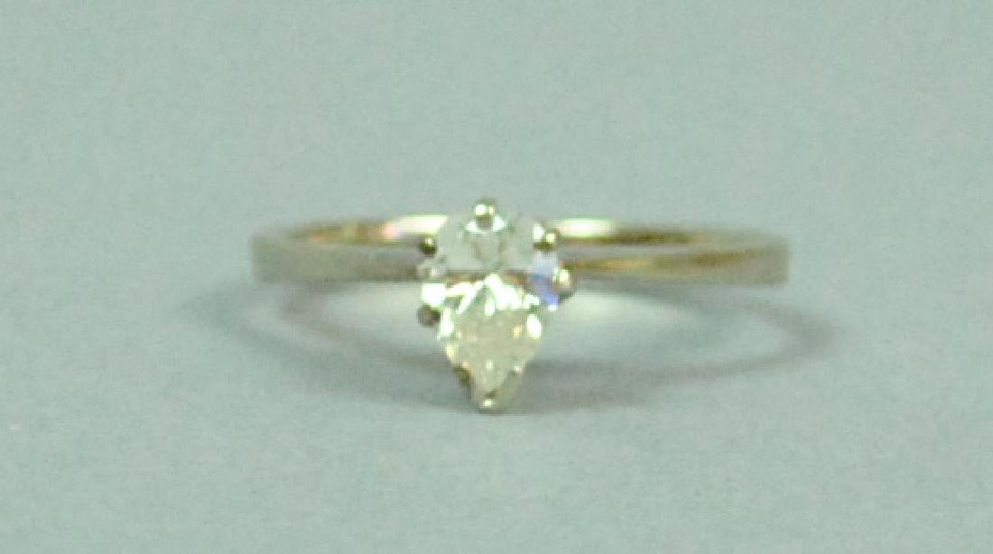 14K PEAR CUT DIAMOND ENGAGEMENT RING