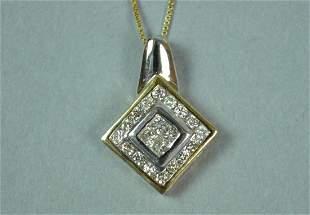 14K BICOLOR DIAMOND PENDANT ON CHAIN