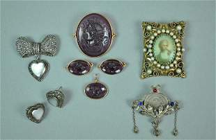 8 PIECE COSTUME SILVER JEWELRY GROUP