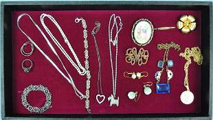 19 PIECE SILVER COSTUME JEWELRY GROUP
