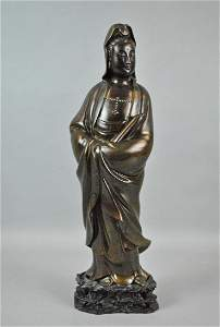 CHINESE SILVER INLAID BRONZE GUANYIN