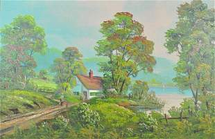 COUNTRYSCAPE PAINTING SIGNED J WOODIE