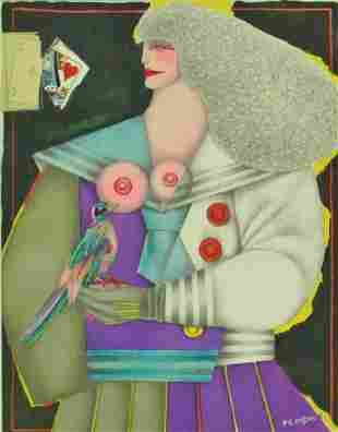 R LINDNER LITHOGRAPH WOMAN WITH BIRD