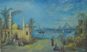 MIDDLE EASTERN GENRE SCENE WITH MOSQUE  FIGURES
