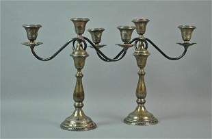 PAIR STERLING WEIGHTED CANDELABRA