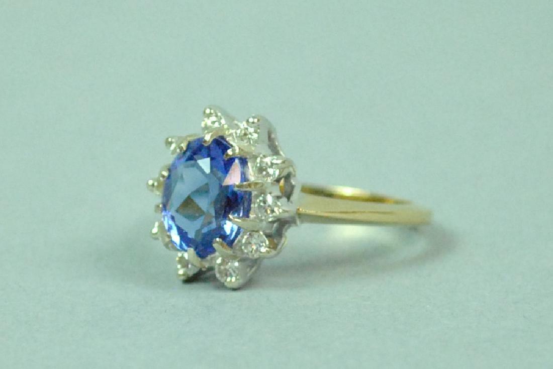 14K PURPLE SPINEL & DIAMOND RING