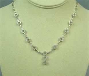 18K DIAMOND CIRCLE LINK NECKLACE, 3.50CTW