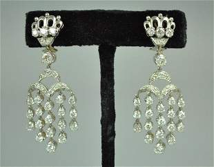 PAIR 18K DIAMOND CHANDELIER EARRINGS 480CTW