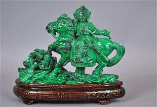 CHINESE CARVED MALACHITE FIGURAL SCULPTURE