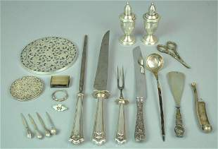 21 PIECE STERLING AND STERLING HANDLED GROUP