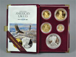 995 AMERICAN EAGLE 5-COIN GOLD & SILVER PROOF SET