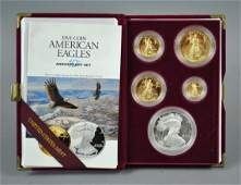 1995 AMERICAN EAGLE 5COIN GOLD  SILVER PROOF SET