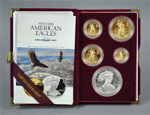 1995 AMERICAN EAGLE 5-COIN GOLD & SILVER PROOF SET