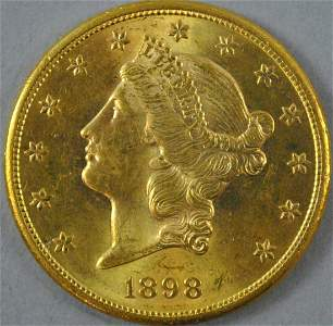 1898-S $20 DOUBLE EAGLE US GOLD COIN
