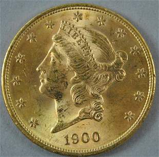 1900 $20 DOUBLE EAGLE US GOLD COIN