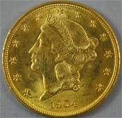 1904 $20 DOUBLE EAGLE US GOLD COIN